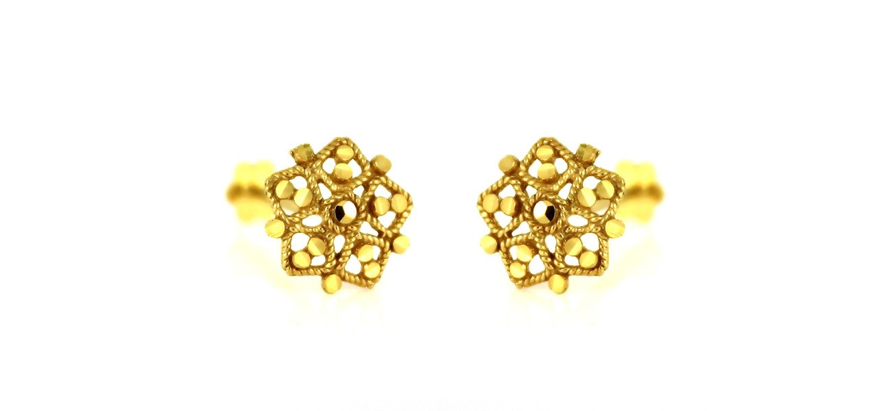 22ct 916 Yellow Gold Hexagon Small Kids Baby Stud Earrings SE91