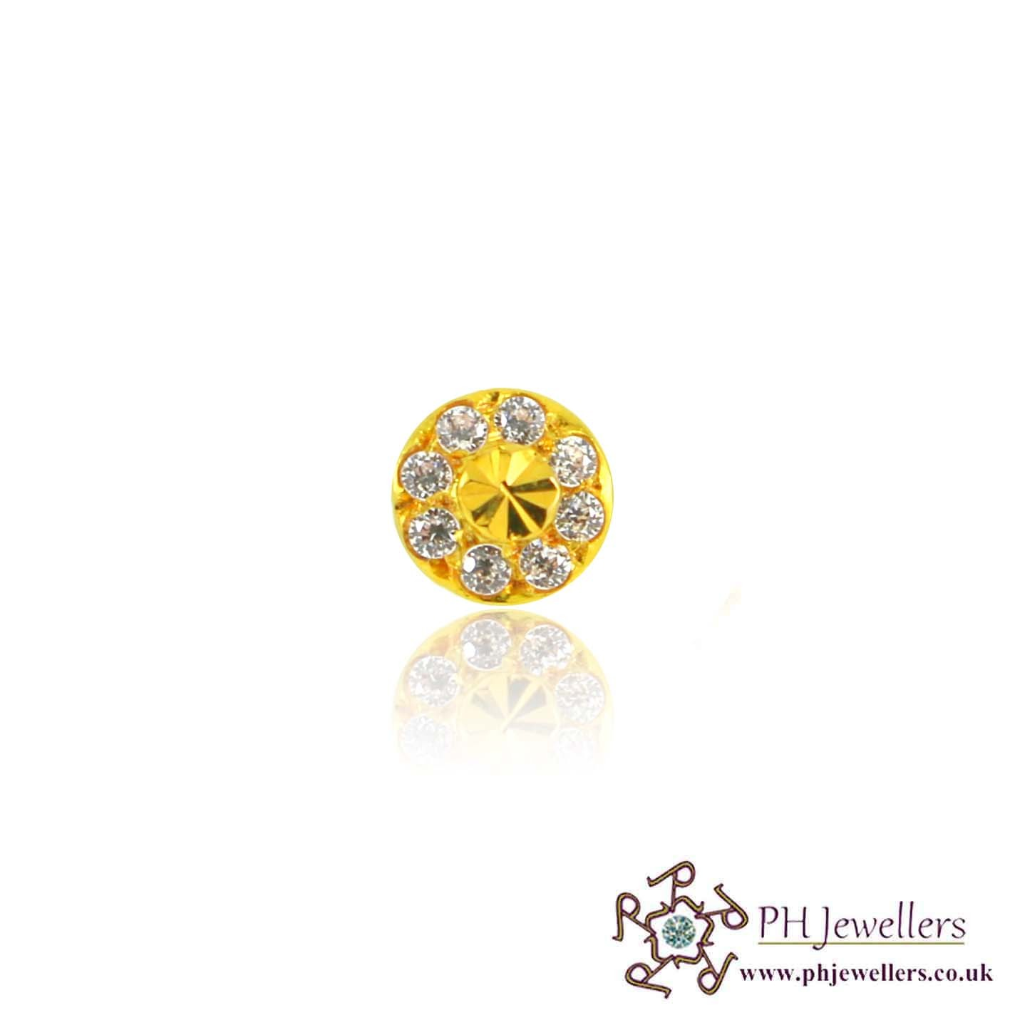 22ct 916 Yellow Gold Screw Nose Stud CZ NSS8