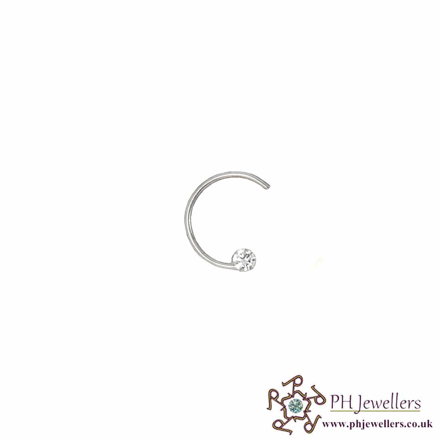 18CT 750 White Gold Wire Nose Stud CZ NSW3