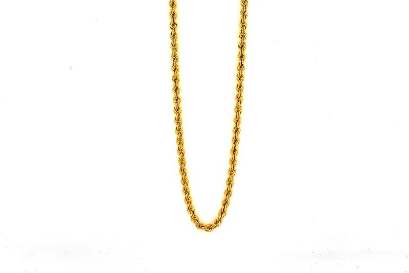 "22ct 916 Hallmark Yellow Gold Hollow 18"" Rope Chain PC54"