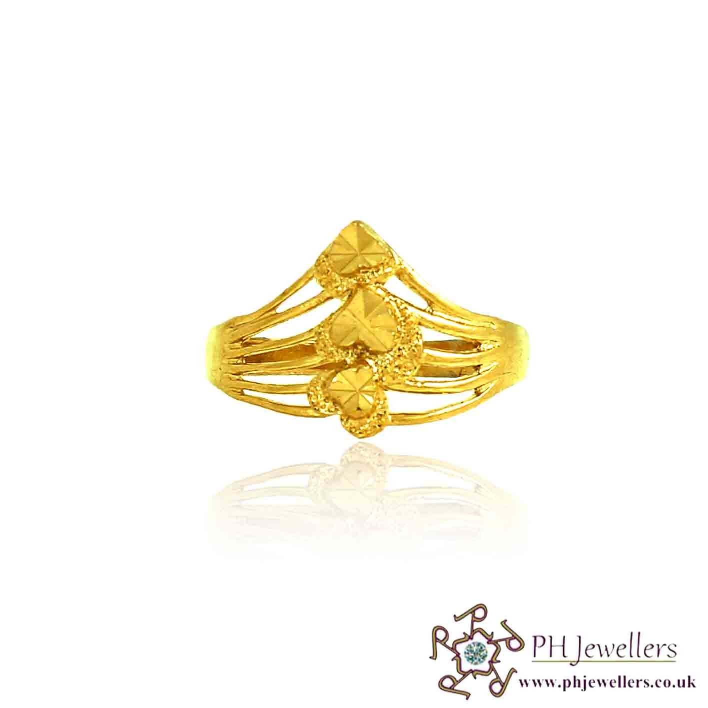 22ct 916 Hallmark Yellow Gold Heart Size O,P Ring PR20 (Ring)