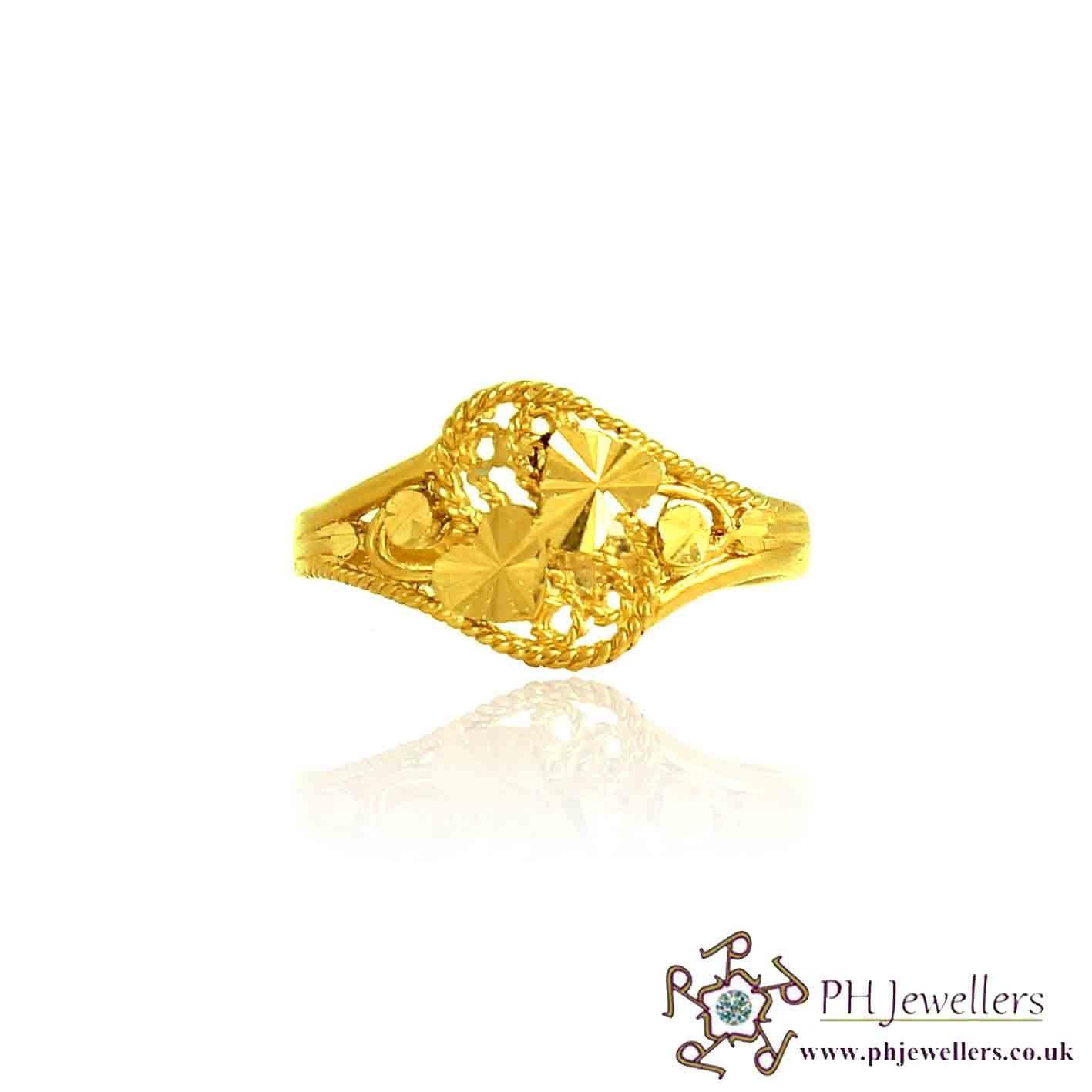 22ct 916 Hallmark Yellow Gold Heart Size Q,R Ring PR22