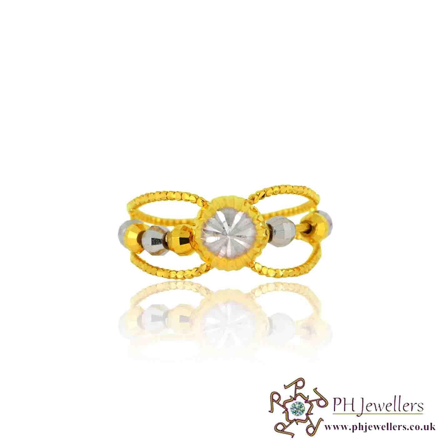 22ct 916 Hallmark Yellow Gold Size K Rhodium Ring PR29