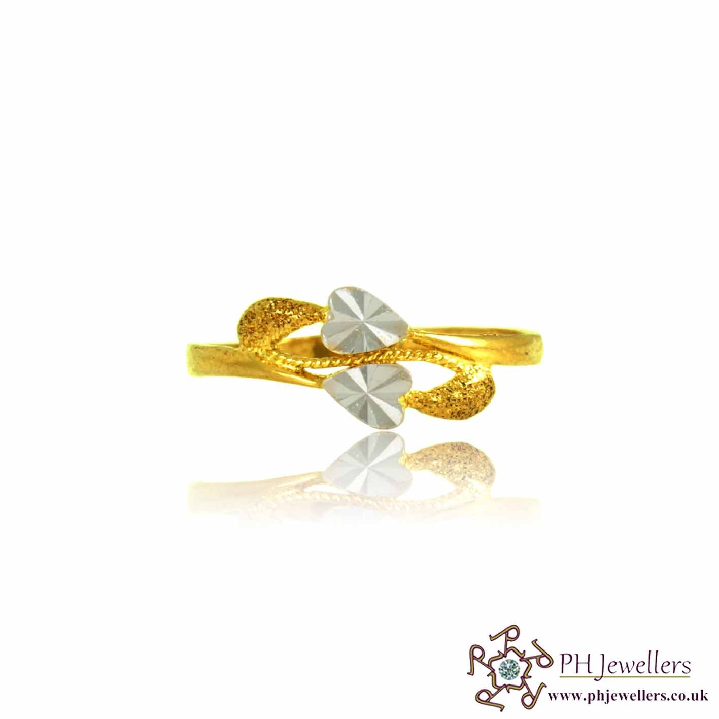 22ct 916 Hallmark Yellow Gold Size O 1/2, P Two side Heart Ring PR30