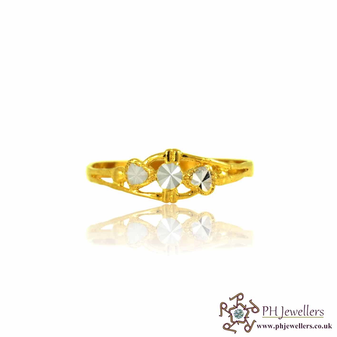 22ct 916 Hallmark Yellow Gold Size P 1/2, Q Rhodium Two Heart Ring PR31