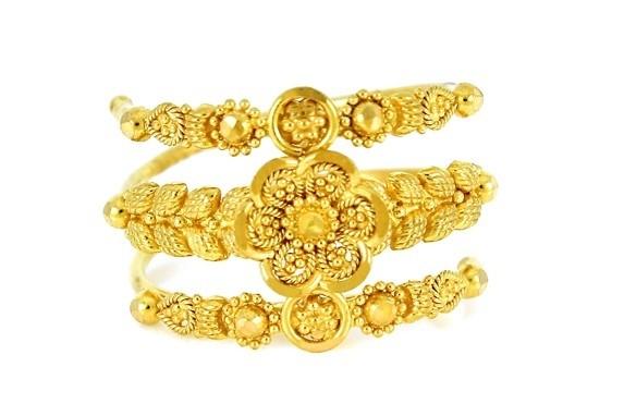 22ct 916 Hallmark Yellow Gold Joint Spiral Ring Size J PR42