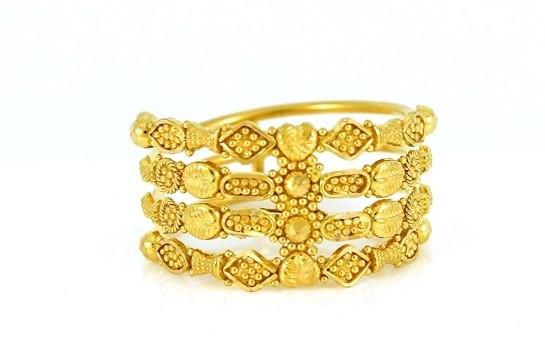 22ct 916 Hallmark Yellow Gold Joint Spiral Ring Size K1/2  PR39