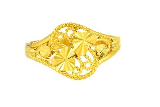 22ct 916 Yellow Gold Hallmark Double Heart Ring  Size Q PR40