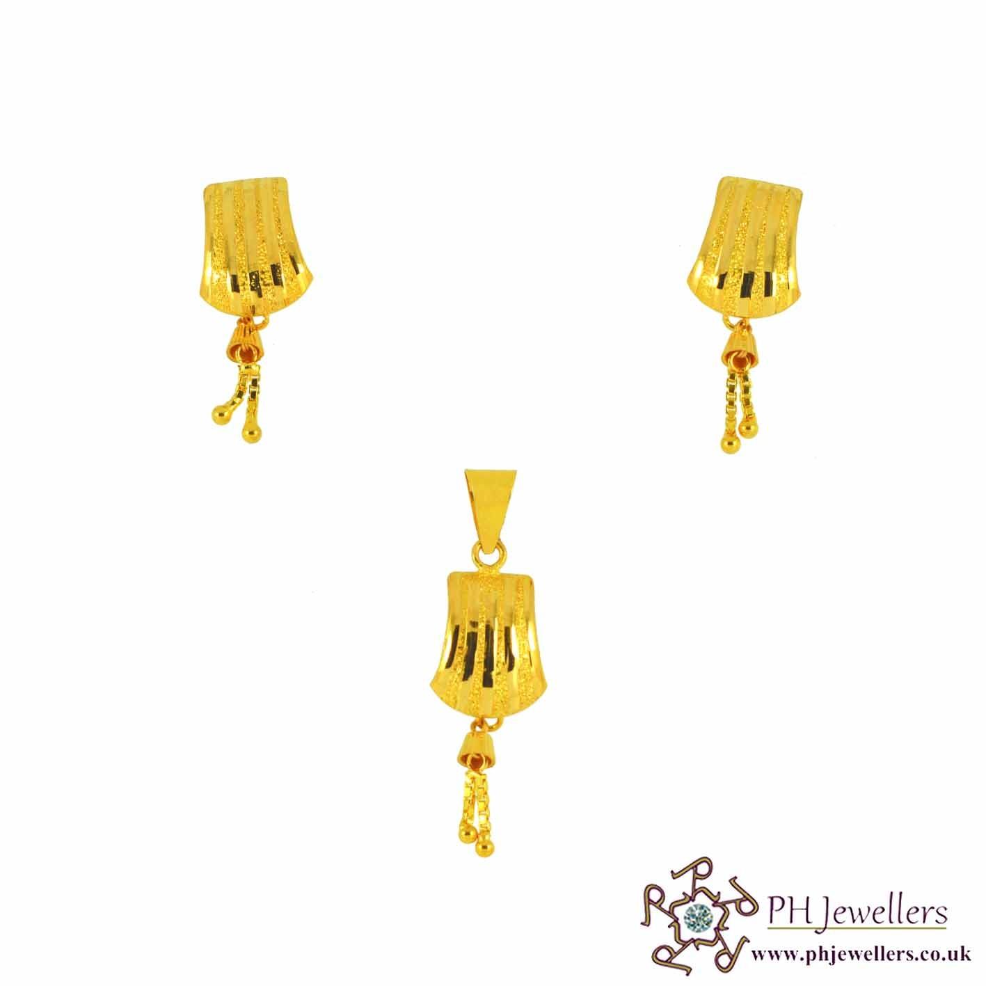 22ct 916 Yellow Gold Danglee Pendant Set PS1