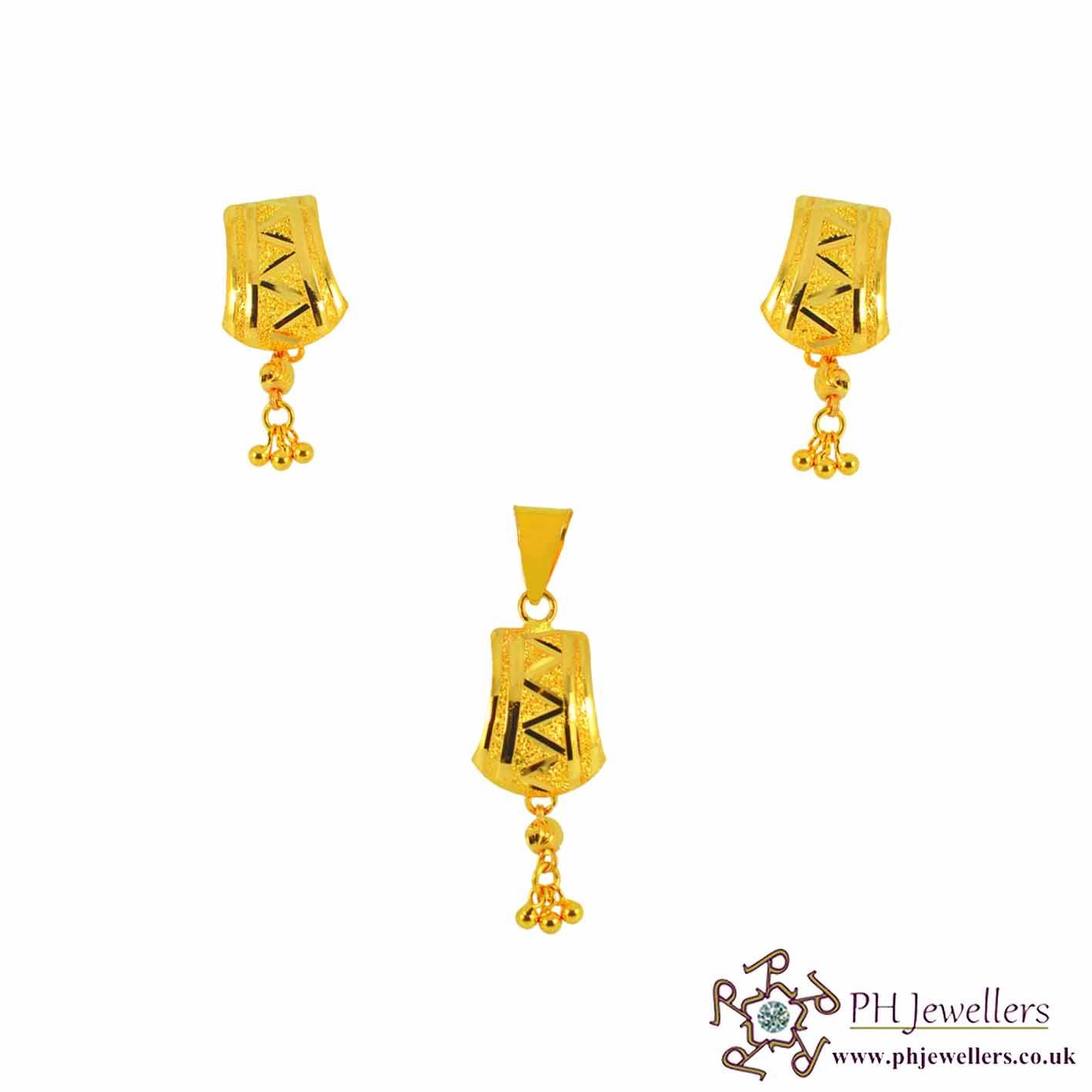 22ct 916 Yellow Gold Danglee Pendant Set PS10