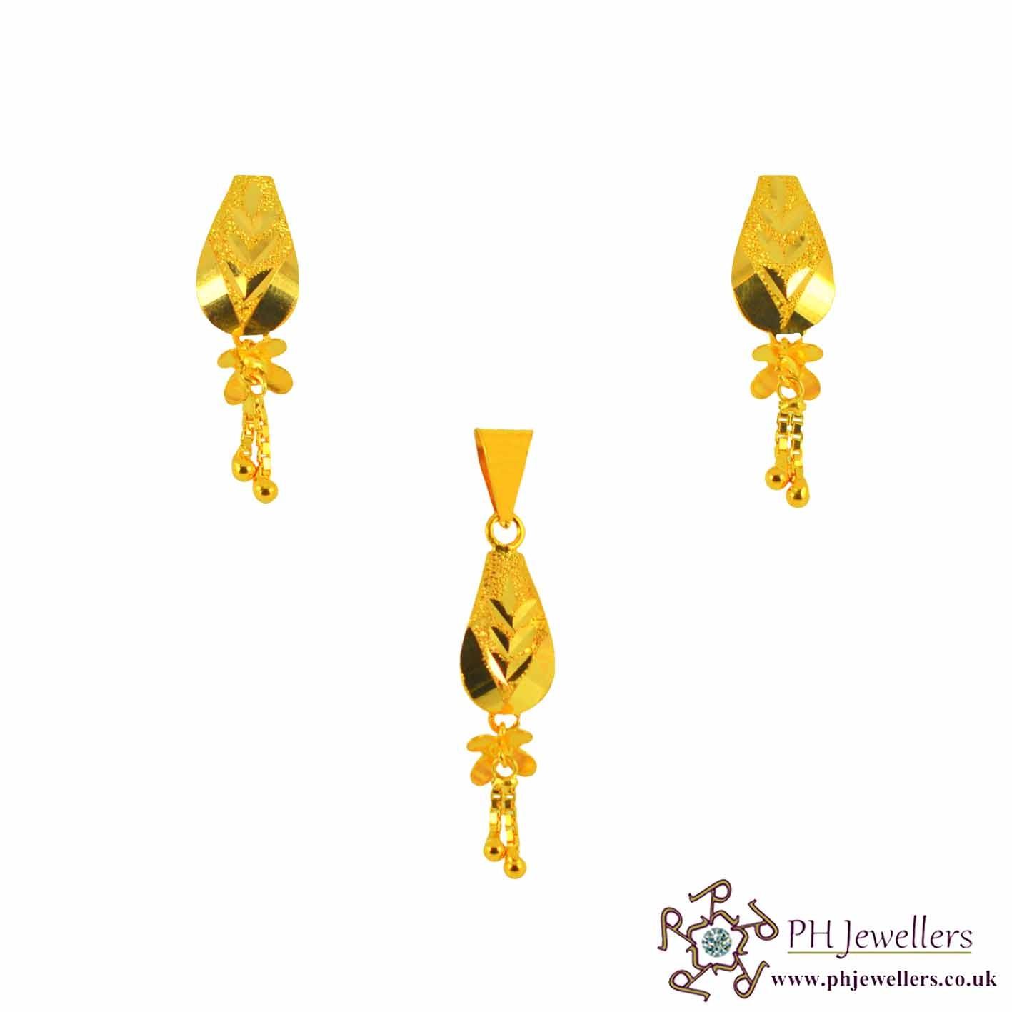 22ct 916 Yellow Gold Dangle Pendant Set PS12