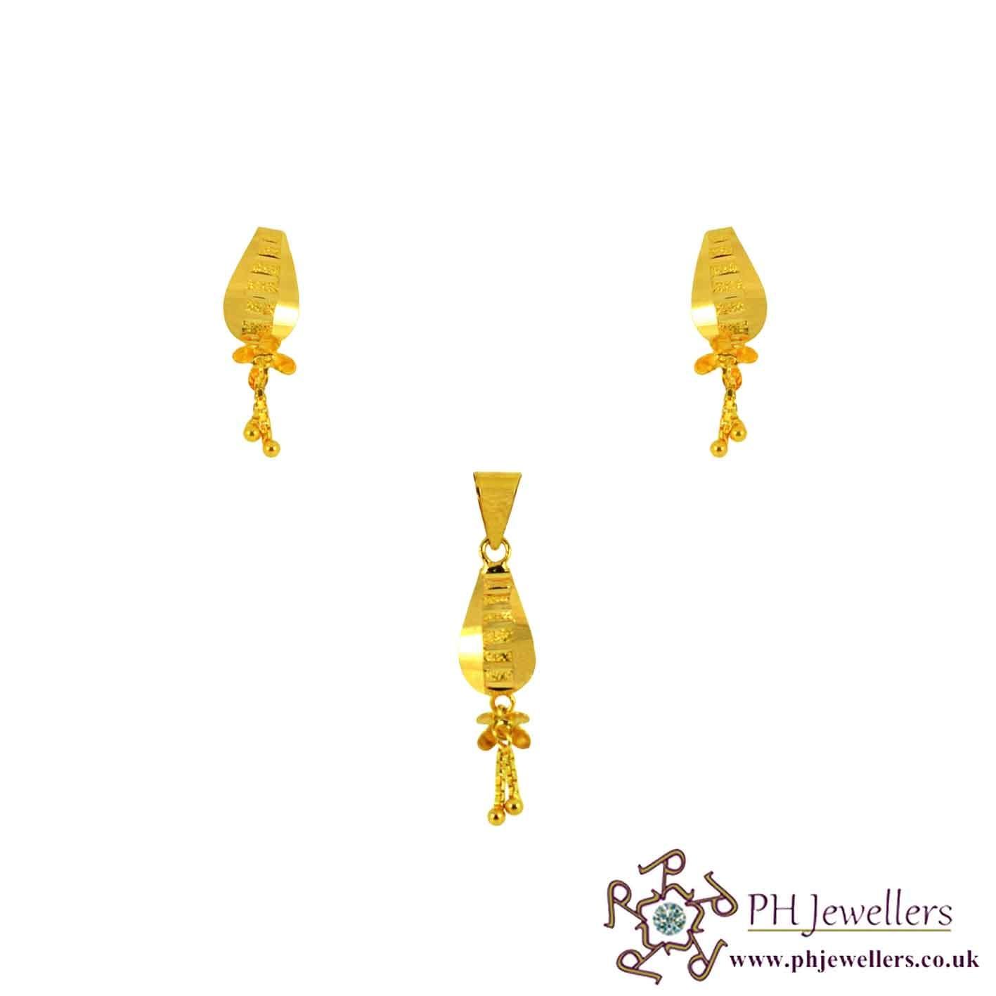 22ct 916 Yellow Gold Dangle Pendant Set PS14