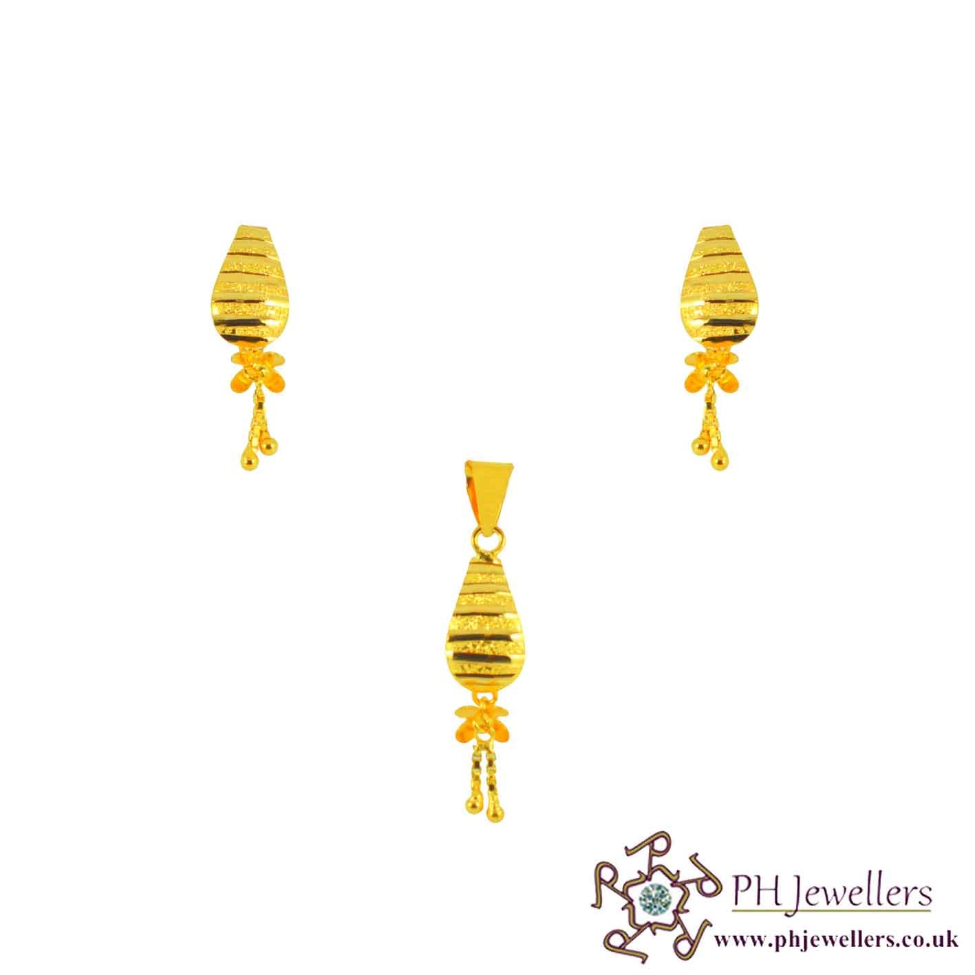 22ct 916 Yellow Gold Dangle Pendant Set PS15