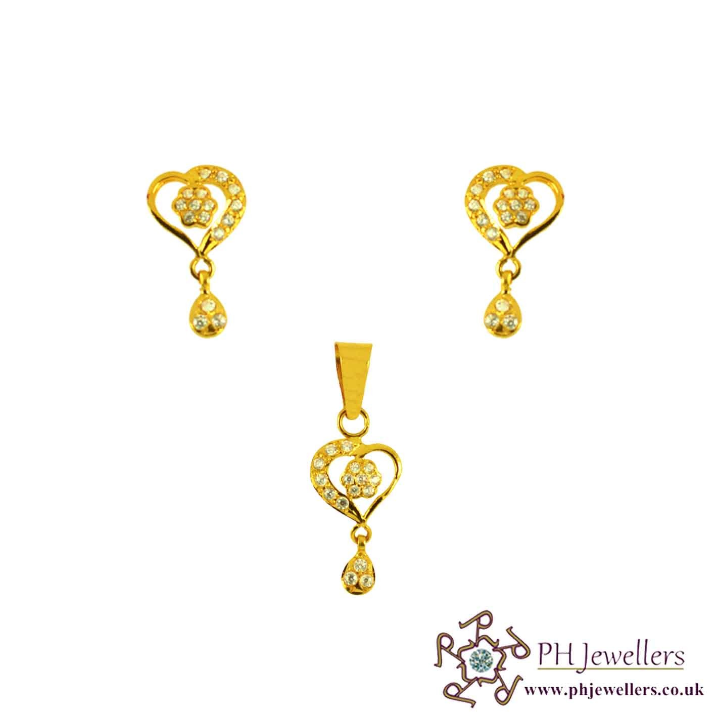 22ct 916 Yellow Gold Heart Pendant Set CZ PS17