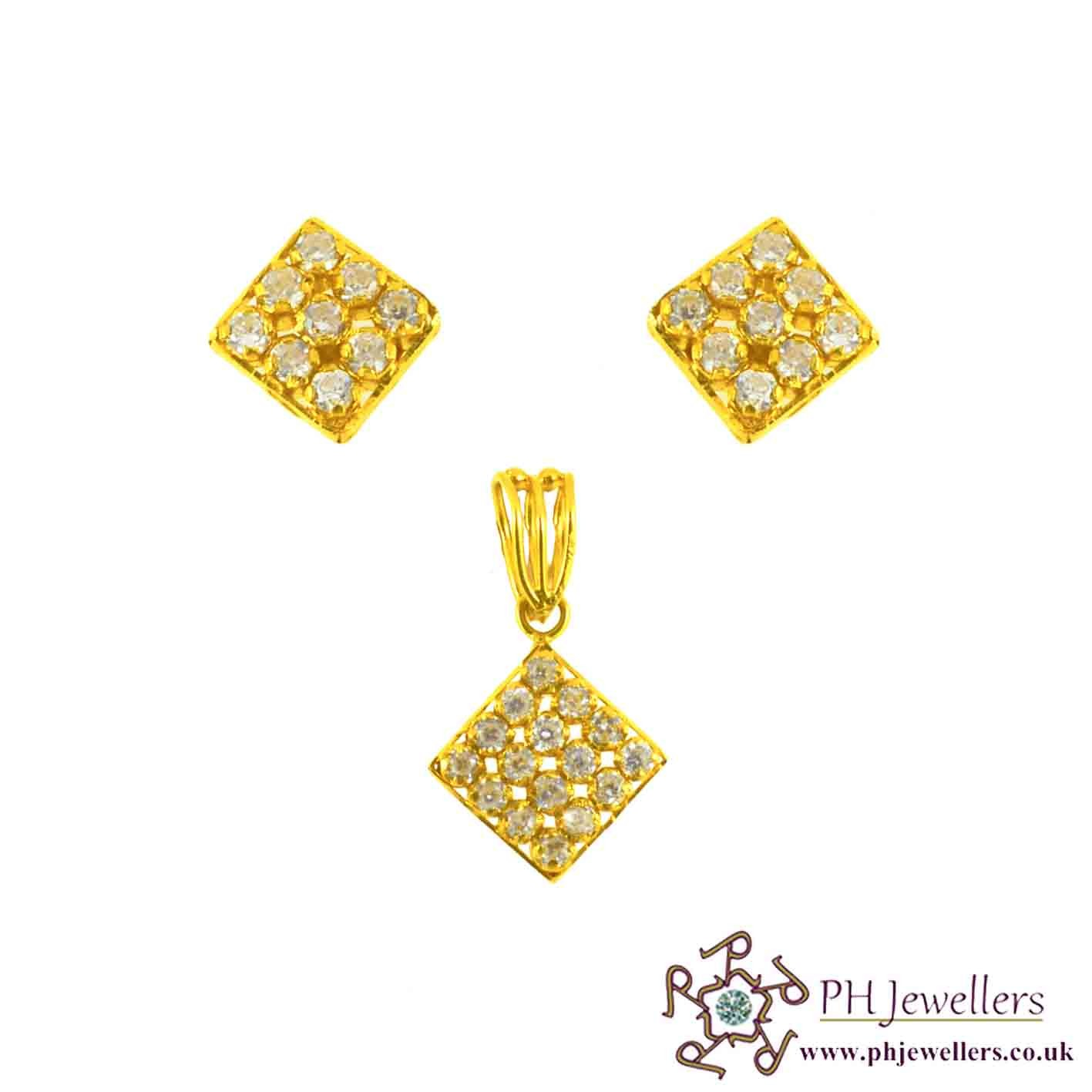 22ct 916 Hallmark Yellow Gold Square Pendant Set CZ PS21