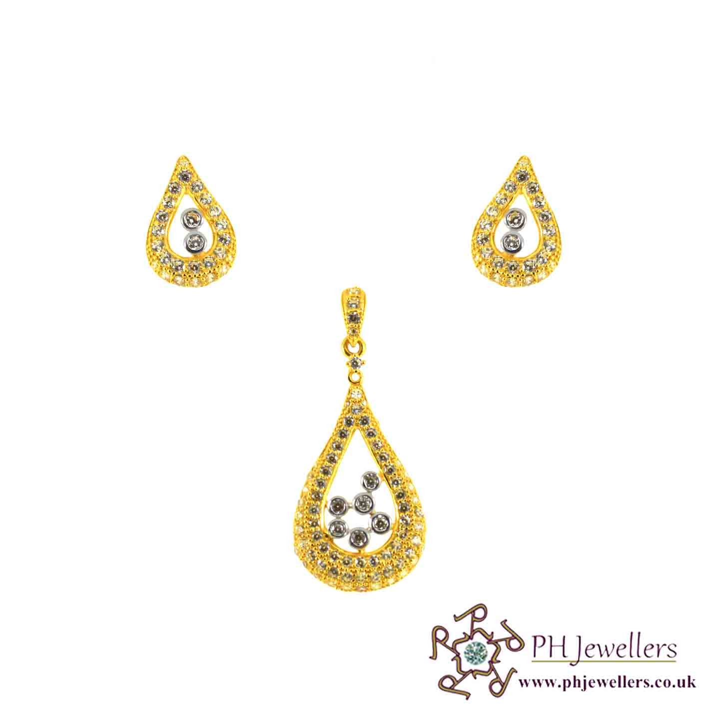 22ct 916 Hallmark Yellow Gold Tear Drop Rhodium Pendant Set CZ PS22