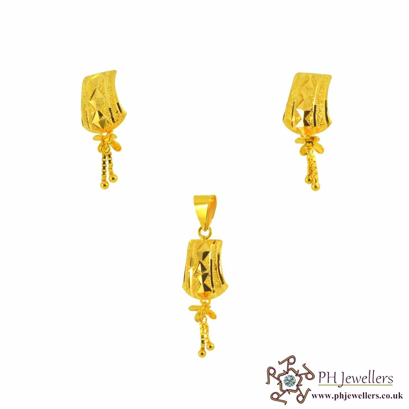 22ct 916 Yellow Gold Danglee Pendant Set PS3