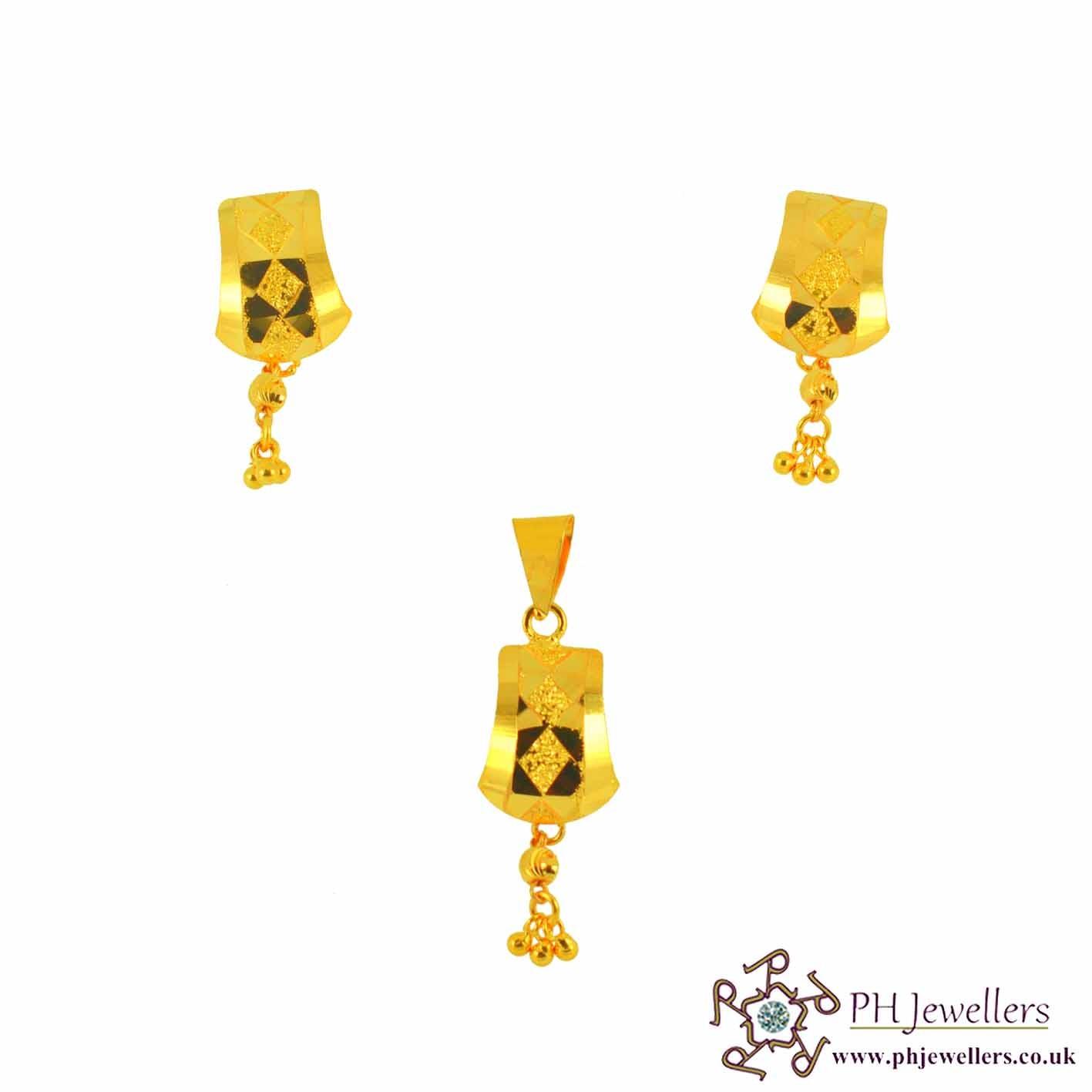 22ct 916 Yellow Gold Danglee Pendant Set PS4