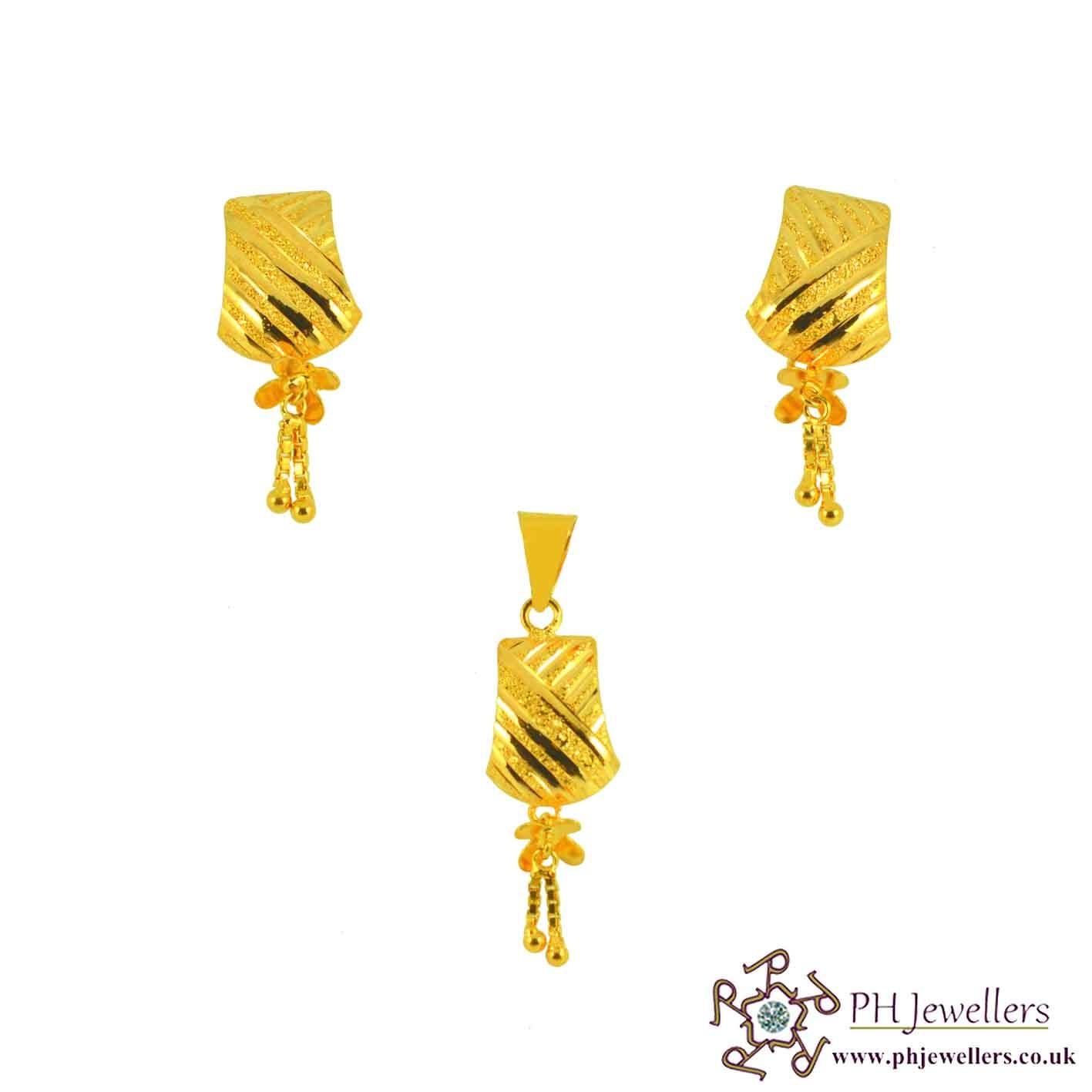 22ct 916 Yellow Gold Danglee Pendant Set PS5