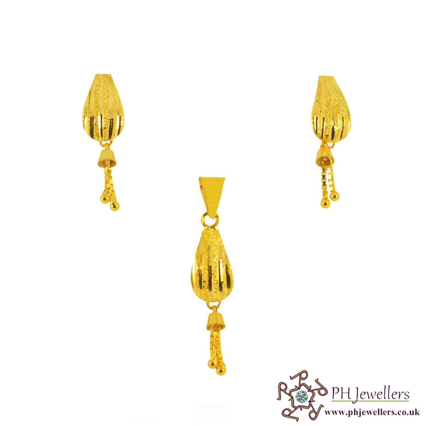 22ct 916 Yellow Gold Danglee Pendant Set PS6