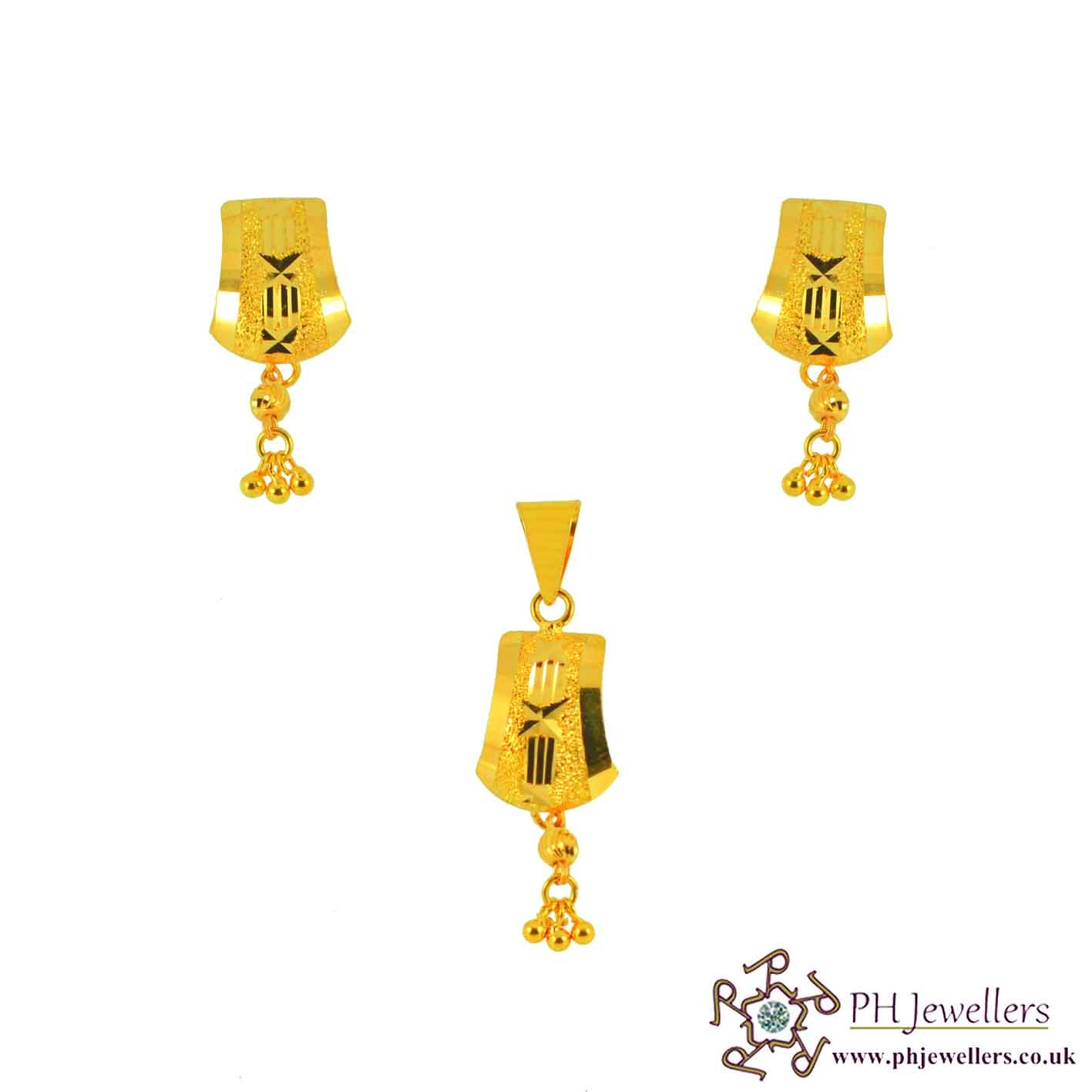 22ct 916 Yellow Gold Danglee Pendant Set PS8
