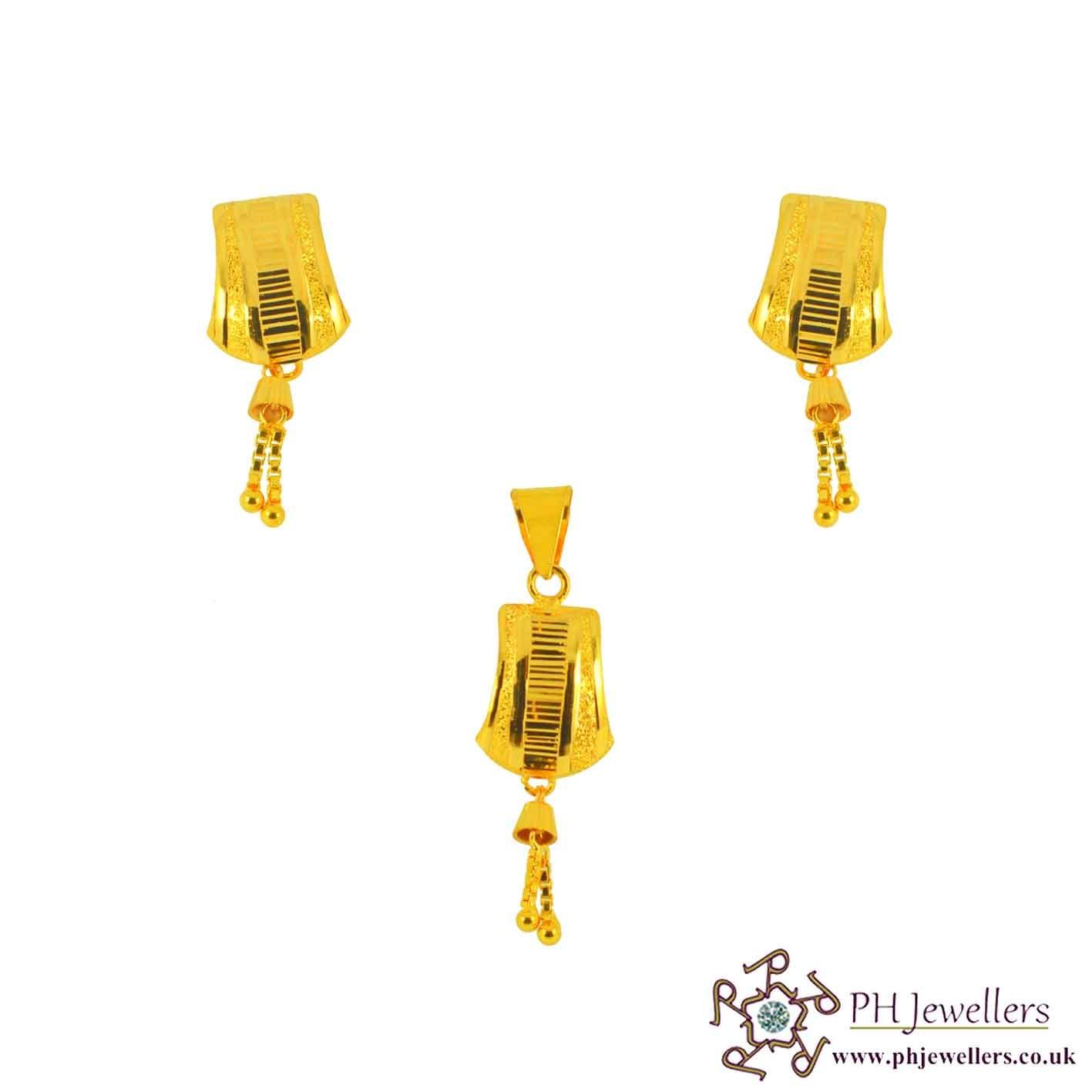 22ct 916 Yellow Gold Danglee Pendant Set PS9