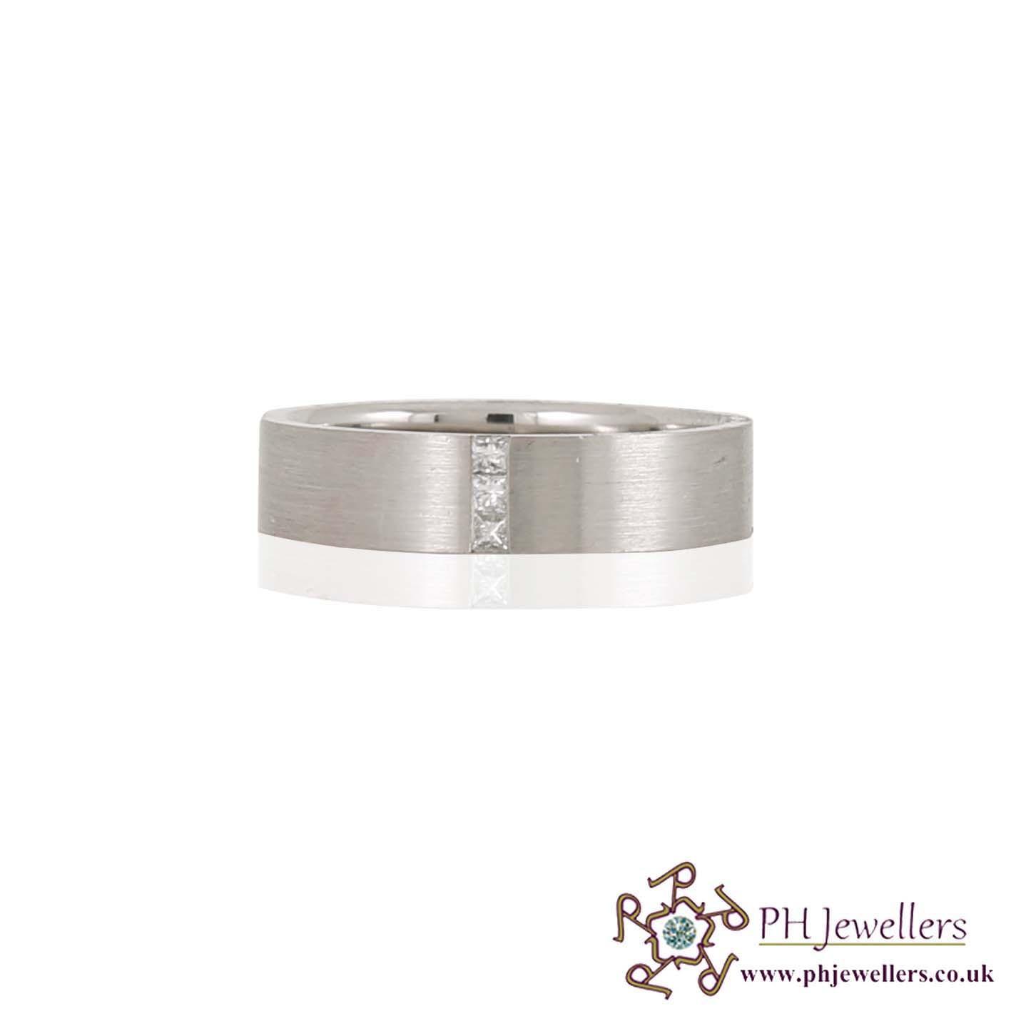 925 Platinum Wedding Band Diamond Size S Ring PTR3