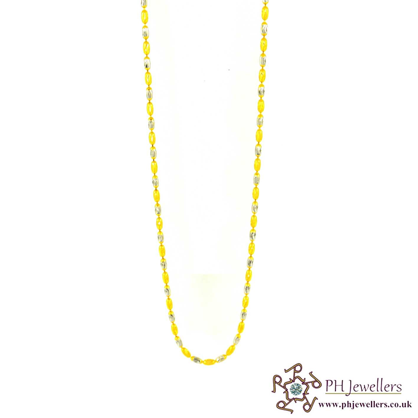 22ct 916 Hallmark Yellow Gold Rhodium Chain RC1