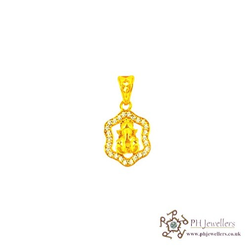 22ct 916 Hallmark Yellow Gold Ganesh Pendant CZ RP11