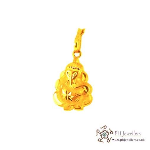 22ct 916 Hallmark Yellow Gold Ganesh Pendant RP12
