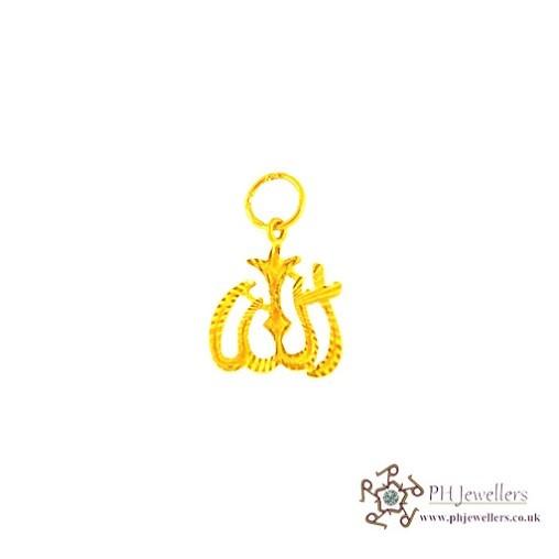 22ct 916 Hallmark Yellow Gold Allah Pendant RP16