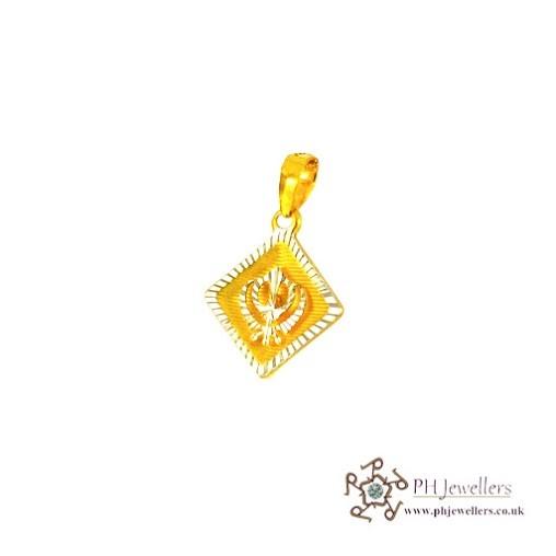 22ct 916 Hallmark Yellow Gold Khanda Rhodium Pendant RP17