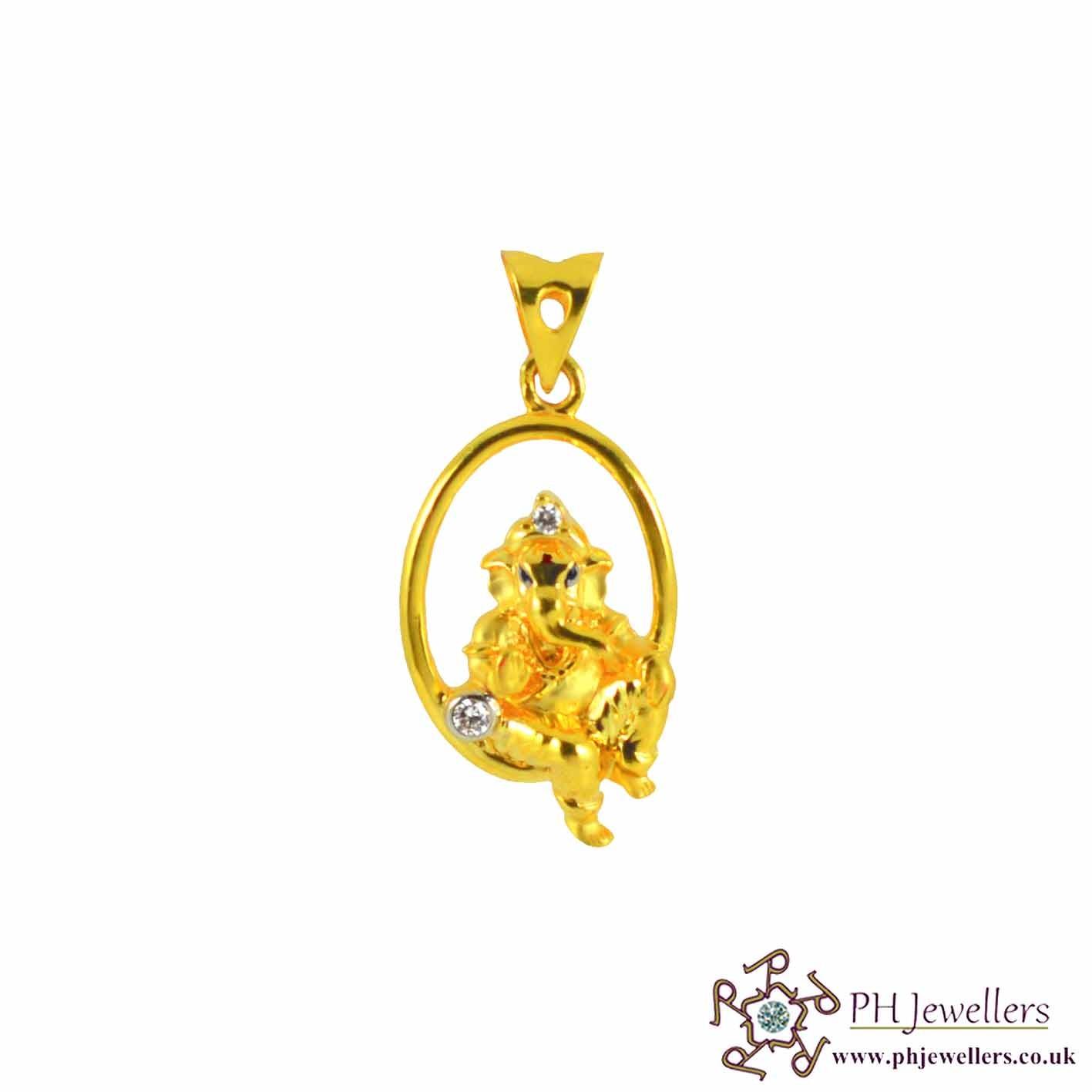 Gold jewellery religious 22ct 916 hallmark yellow gold ganesh gold jewellery religious 22ct 916 hallmark yellow gold ganesh pendant cz rp28 aloadofball Choice Image