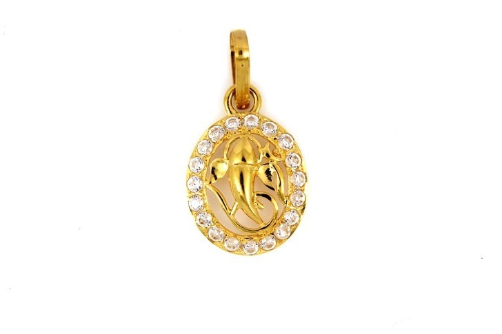 22ct 916 Hallmark Yellow Gold Om Ganesh Oval God Pendant with CZ Stones RP72