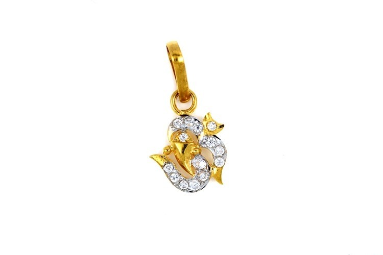 22ct 916 Hallmark Yellow Gold Om Ganesh God Pendant with Rhodium CZ Stones RP82
