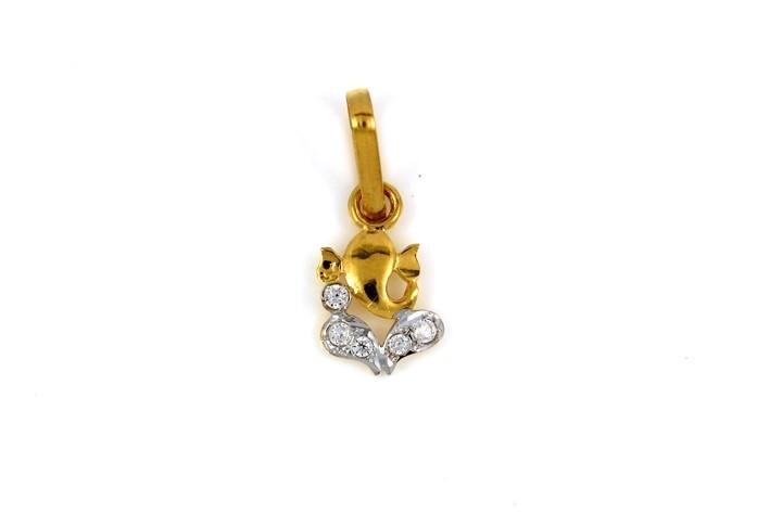 22ct 916 Hallmark Yellow Gold Ganesh  Pendant with Rhodium CZ Stones RP87