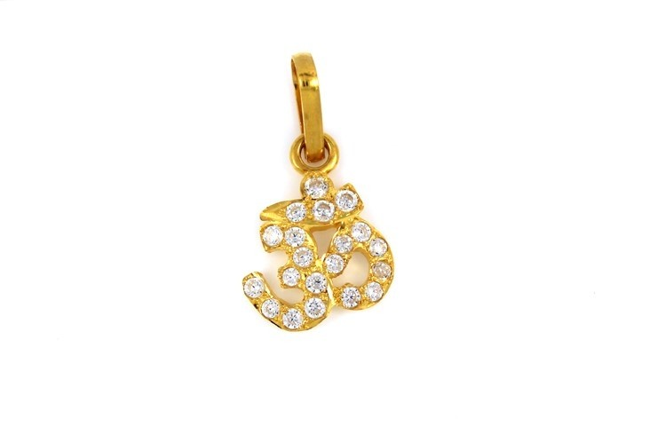 22ct 916 Hallmark Yellow Gold Om Pendant with CZ Stones RP88