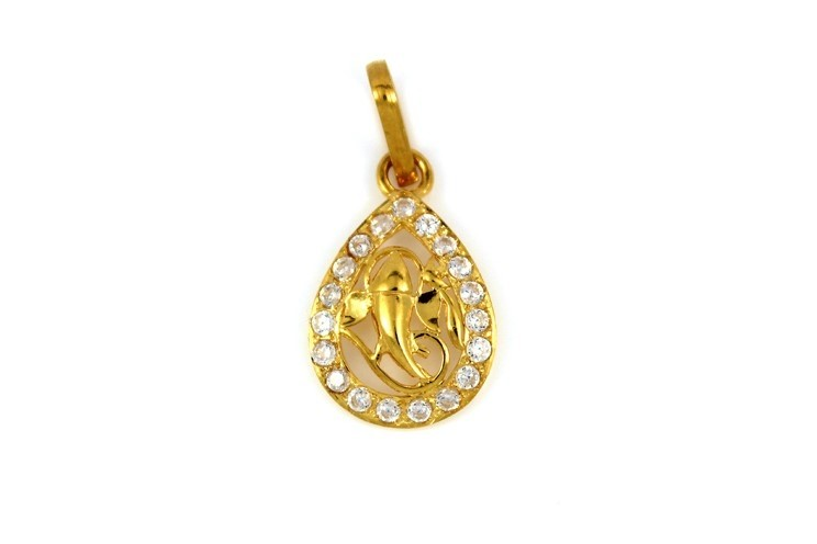 22ct 916 Hallmark Yellow Gold Om Ganesh God Teardrop Pendant with CZ Stones RP89