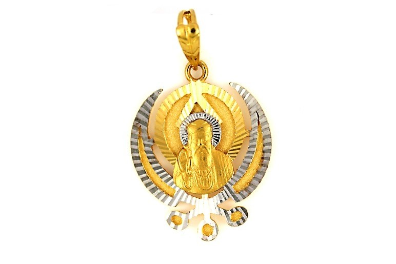 22ct 916 Hallmark Yellow Gold Sikh Guru Nanak Khanda Pendant with Rhodium RP94