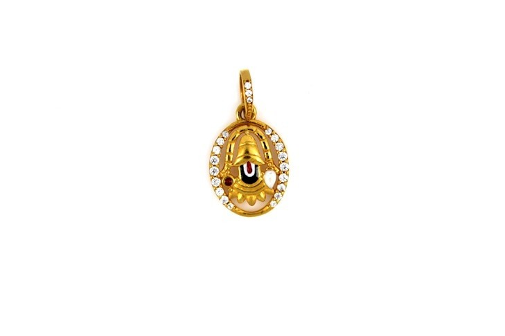 22ct 916 Hallmark Yellow Gold Hindu God Balaji Pendant CZ RP95