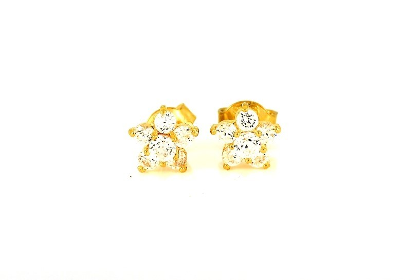 22ct 916 Yellow Gold Round Flower Stud Earrings Tops CZ Screw SE100