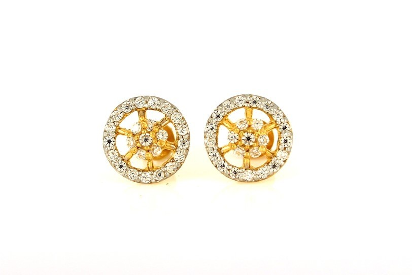 22ct 916 Yellow Gold Round  Stud Earrings Tops CZ Screw SE101