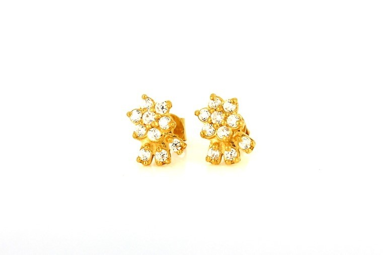 22ct 916 Yellow Gold Round Flower Stud Earrings Tops CZ Screw SE102