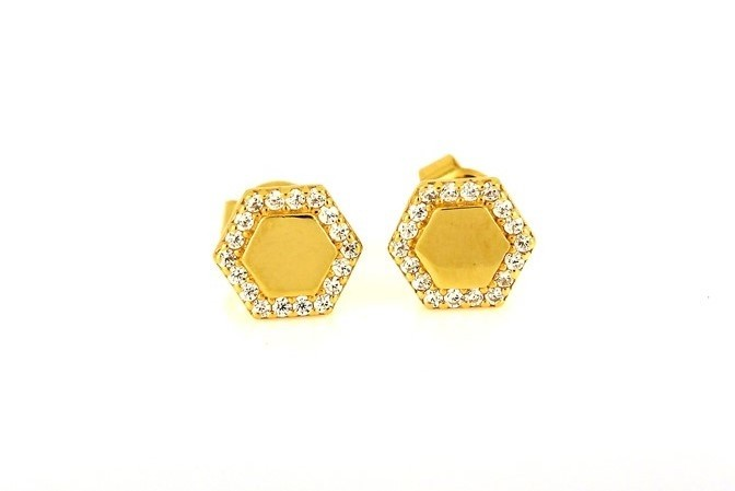 22ct 916 Yellow Gold Hexagon Stud Earrings Tops CZ Screw SE103