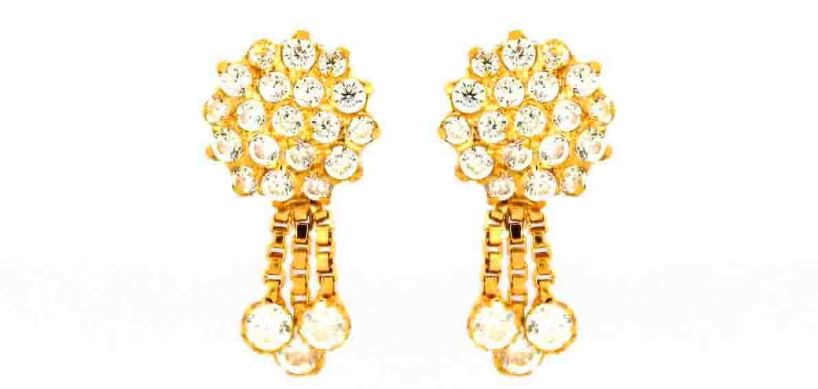 22CT 916 Yellow Gold Kids Tops Dangle Earring with white CZ SE105