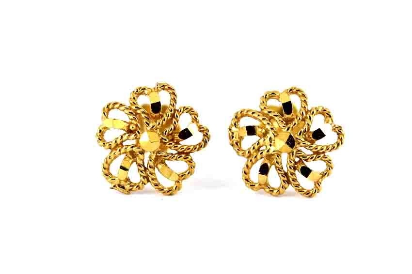 22ct 916 Yellow Gold Flower Heart Small Kids Baby Stud Earrings SE107
