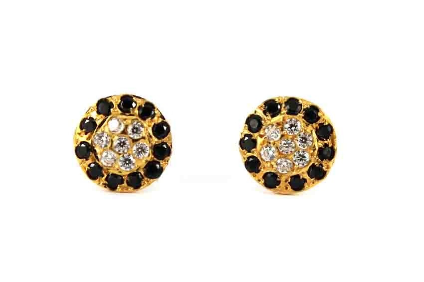 22ct 916 Yellow Gold Round Black and White CZ Small Kids Baby Stud Earrings SE108