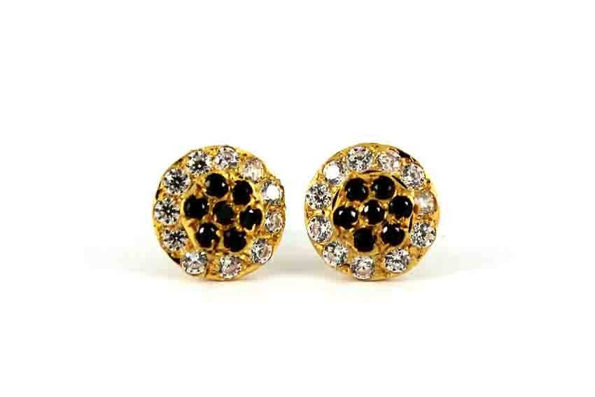 22ct 916 Yellow Gold Black and White CZ Small Kids Baby Stud Earrings SE109