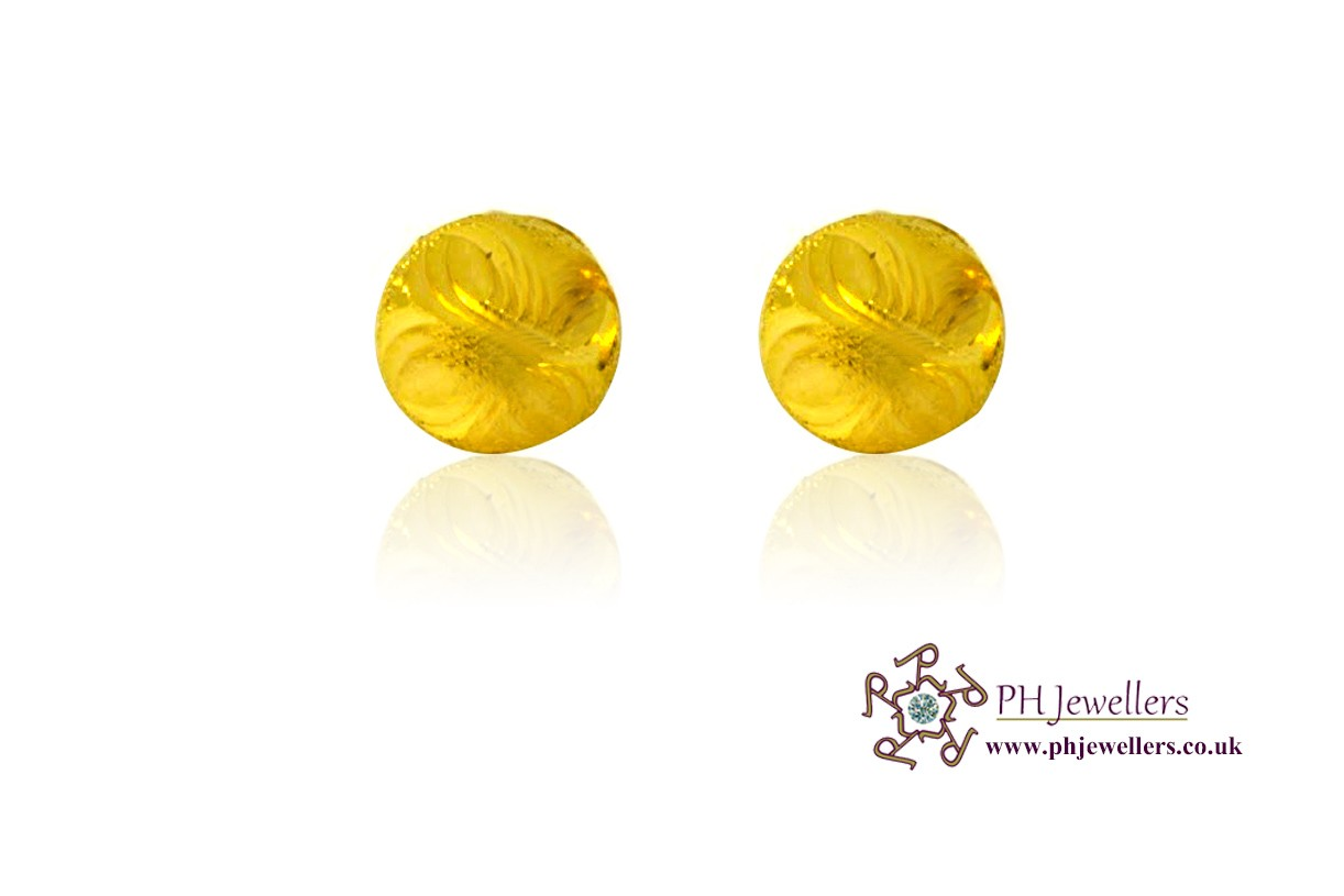 22ct 916 Yellow Gold Stud Earrings CZ SE11