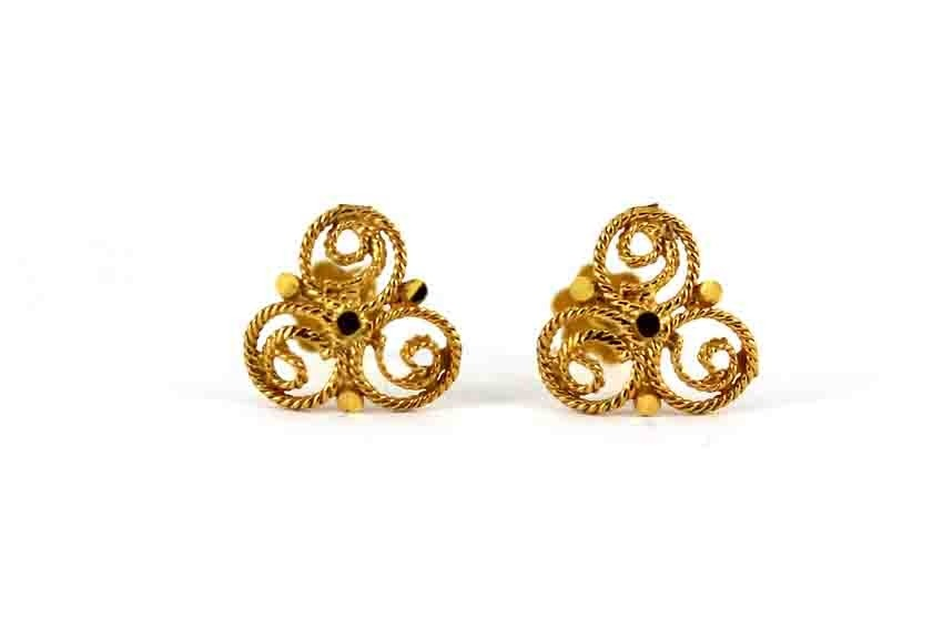 22ct 916 Yellow Gold Round Clover Flower Small Kids Baby Stud Earrings SE111
